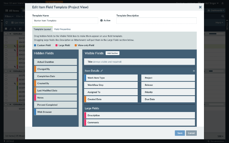 Screenshot of the field template editor in Axosoft, manage layout